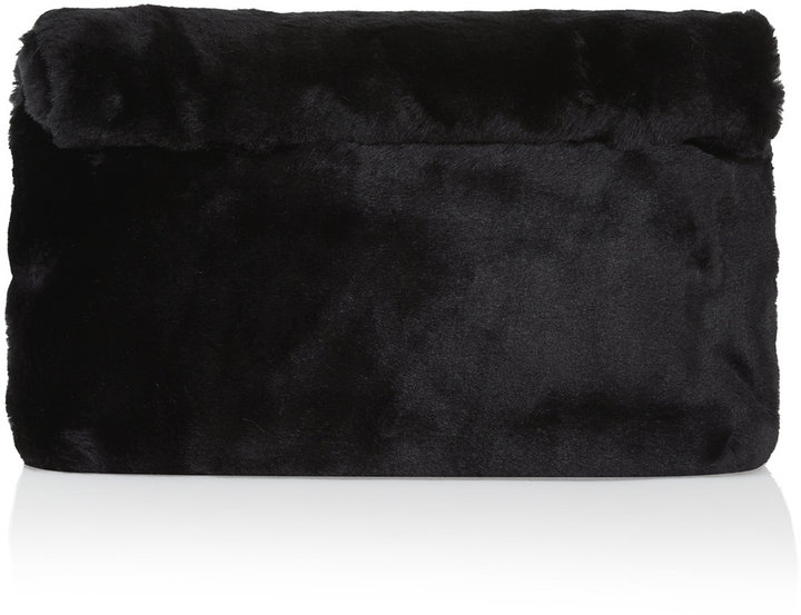 Oversized Roll Top Clutch In Super Soft Faux Fur Finish Magnetic Fastening To The W42cm H33cm 70 Acrylic 30 Polyester Specialist Clean Only