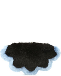 Shrimps Flower Faux Fur Clutch