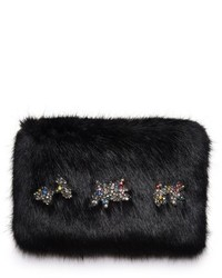 Shrimps twinkle embellished faux fur clutch black medium 1211796