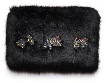 Shrimps Twinkle Embellished Faux Fur Clutch Black