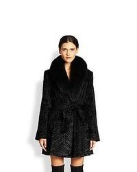 Alice + Olivia Kaylie Convertible Faux Fur Coat Black