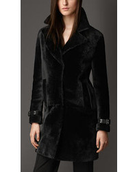 Burberry Leather Detail Shearling Coat