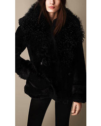 Burberry Oversize Contrast Shearling Pea Coat