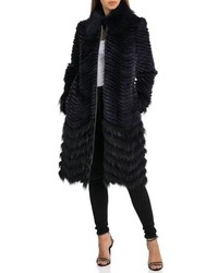 Badgley Mischka Chevron Knit Genuine Fur Coat