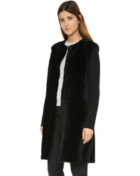 Black suede and shearling coat