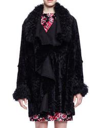 Lanvin Draped Open Shearling Fur Coat