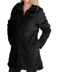 Dylan Sheared Stripe Coat Faux Fur