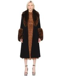 Ermanno Scervino Techno Coat With Fur Details