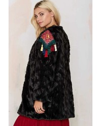 Factory Native Rose So Far Faux Fur Coat