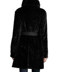Neiman Marcus Faux Fur Belted Coat Black