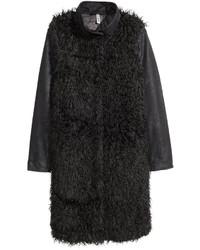 H&M Faux Fur Coat Black Ladies