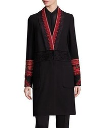 Etro Faux Fur Detail Embroidered Beaded Coat