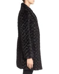 Eliza J Faux Persian Lamb Fur A Line Coat
