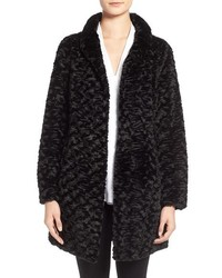 Eliza J Faux Persian Lamb Fur A Line Coat