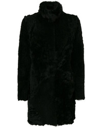 Furry detail buttoned up coat medium 3994167
