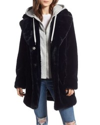Kendall & Kylie Hooded Faux Rabbit Fur Jacket