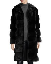 Oscar de la Renta Horizontal Stripe Mink Fur Stroller Coat Navyblack