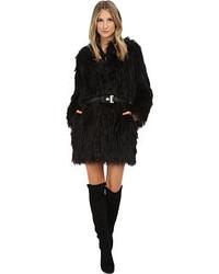 Versace Jeans Belted Faux Fur Long Sleeve Coat