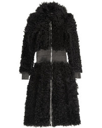 Alexander McQueen Leather Trimmed Shearling Coat