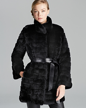 Maximilian Rex Rabbit Fur Coat With Leather Belt | Where to buy