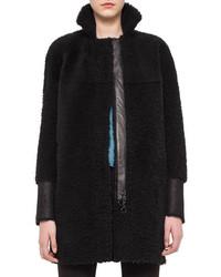 Akris Punto Mid Length Shearling Fur Coat Black