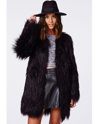Missguided Cloe Shaggy Faux Fur Coat Black | Where to buy & how to ...