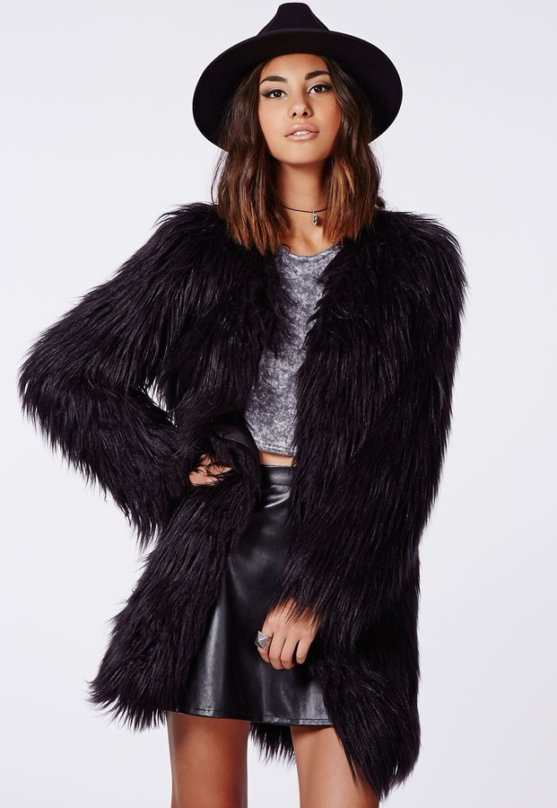 8334767fb33 ... Missguided Cloe Shaggy Faux Fur Coat Black ...