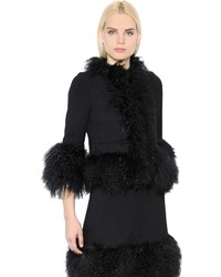 Sonia Rykiel Mongolian Fur Wool Crepe Coat