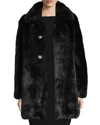 Kate Spade New York Faux Fur Two Button Coat W Rhinestones Black