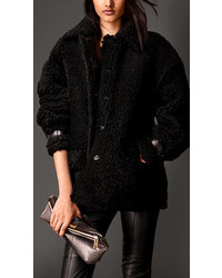 Burberry Oversize Shearling Coat With Nappa Leather Trim