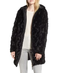 Via Spiga Reversible Hooded Faux Fur Coat