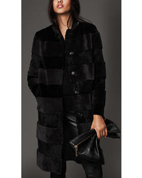 Burberry Shearling And Fur Striped Coat