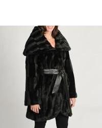 Tahari ASL Tahari Faux Fur Tied Wrap Coat