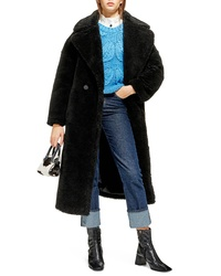 Topshop Whinnie Faux Fur Borg Coat