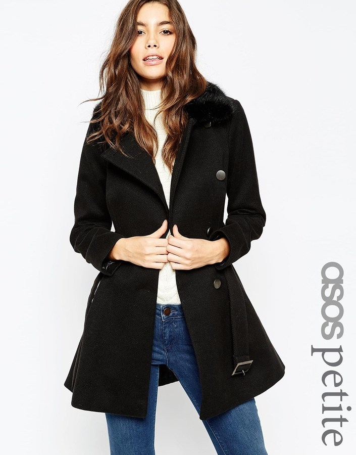 Asos ASOS PETITE Skater Coat With Faux Fur Collar | Where to buy ...