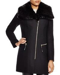 Via Spiga Asymmetric Coat With Faux Fur Trim