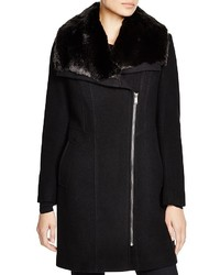 DKNY Asymmetric Faux Fur Walker Coat