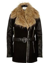 River Island Black Faux Fur Collar Winter Coat