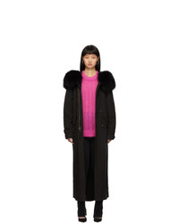 MR AND MRS ITALY Black Fur Long Jazzy Coat