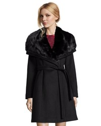 Diane von Furstenberg Black Wool Faux Fur Collar Asymmetrical Zip Belted Coat