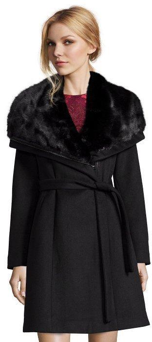 ee8447be4 Black Wool Faux Fur Collar Asymmetrical Zip Belted Coat