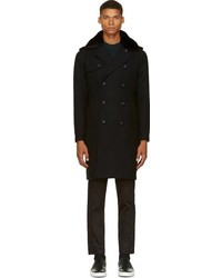 Black wool shearling trench coat medium 98899