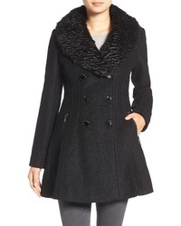 GUESS Boucle Fit Flare Coat With Faux Fur Collar