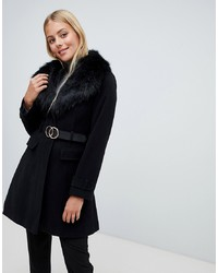Miss Selfridge Coat With Faux In Black
