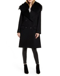 Fleurette Double Breasted Wool Coat With Genuine Lamb
