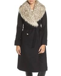Eliza J Faux Fur Collar Belted Wool Blend Long Coat