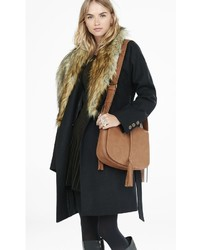 Extreme Faux Fur Collar Belted Coat