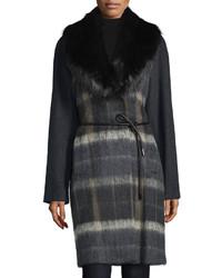 Vera Wang Faux Fur Collar Belted Coat Deep Charcoal