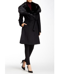 Diane von Furstenberg Faux Fur Collar Belted Wool Blend Coat