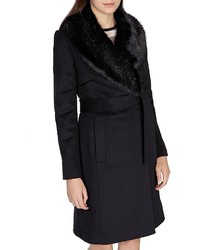Karen Millen Faux Fur Collar Coat